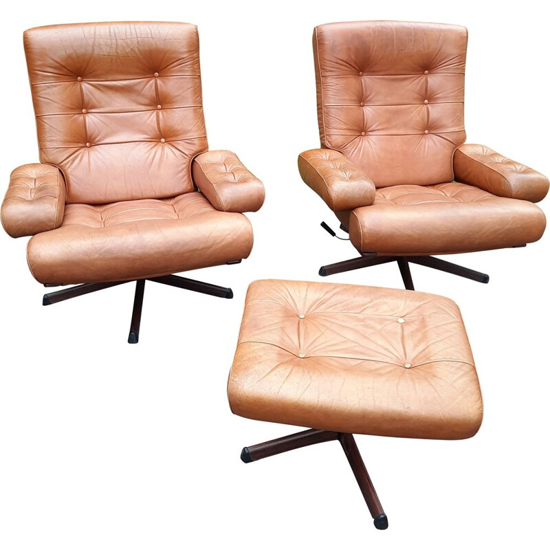 2 vintage armchairs with matching ottoman by Gote Möbler Nässjo, Sweden 1970s