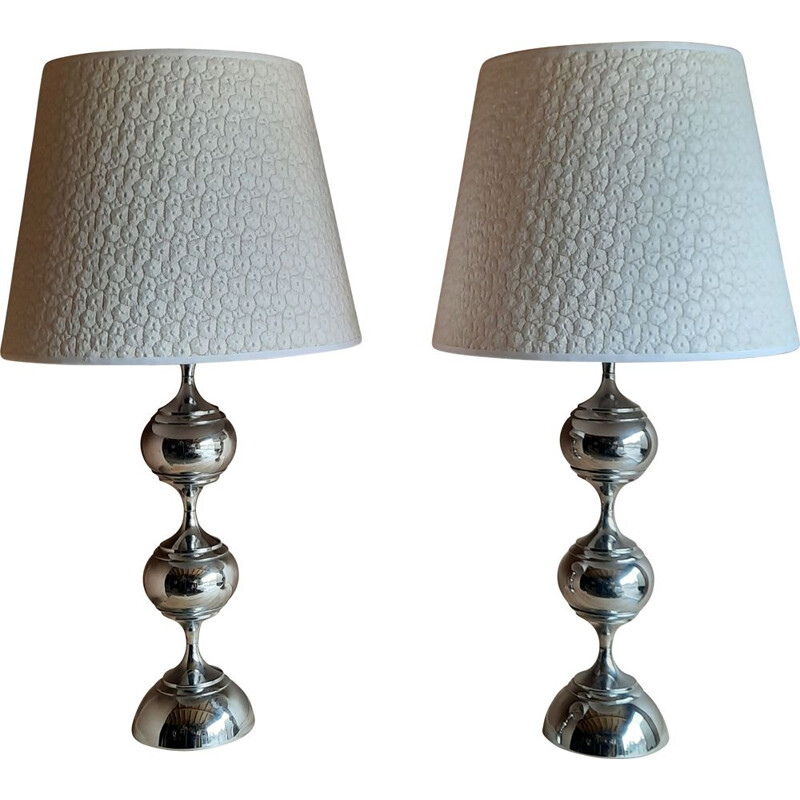 Pair of Bubble lamps with lampshades and chrome bases, 1970s