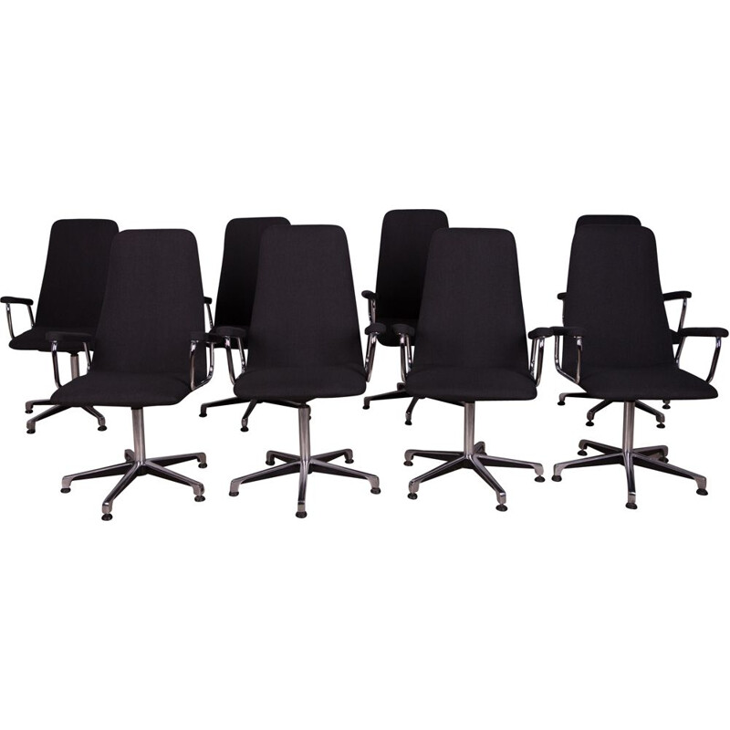 Vintage set of 8 conference swivel armchairs by Johanson Design, Sweden 1990s