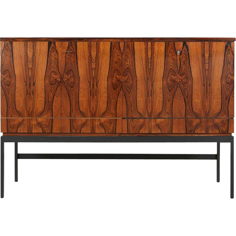 Mid-century rosewood and black metal base bar cabinet