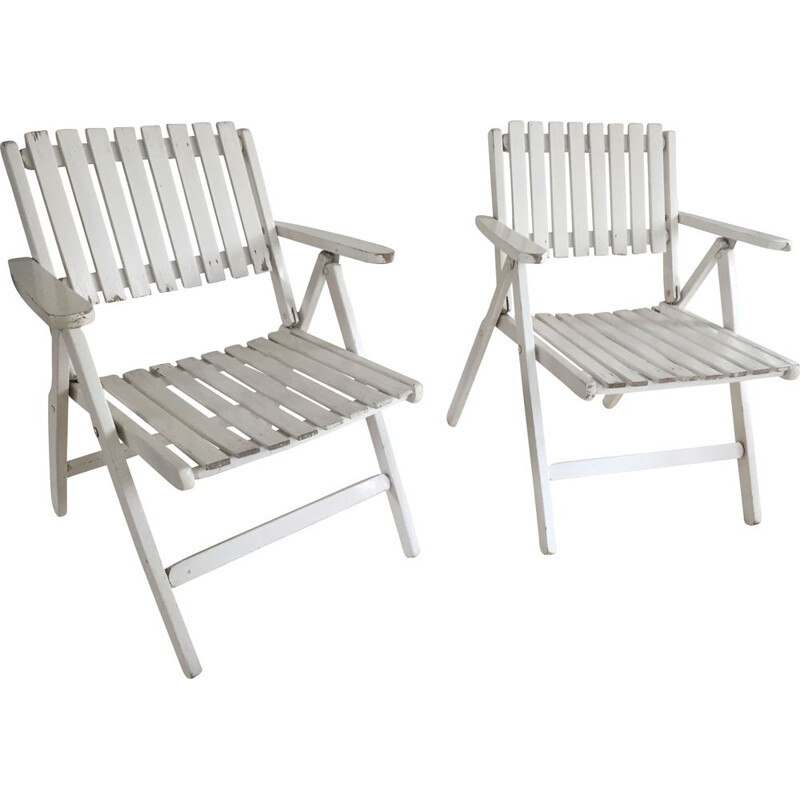 Vintage pair of folding garden armchairs in white lacquered wood by R. Gleizes