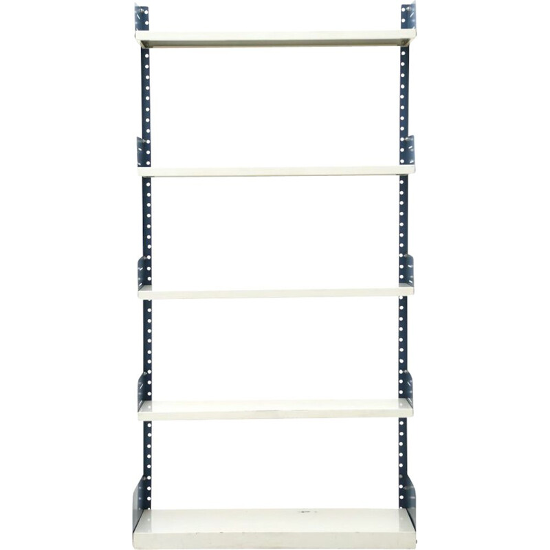 Vintage white and blue metal bookcase, Italy 1970's