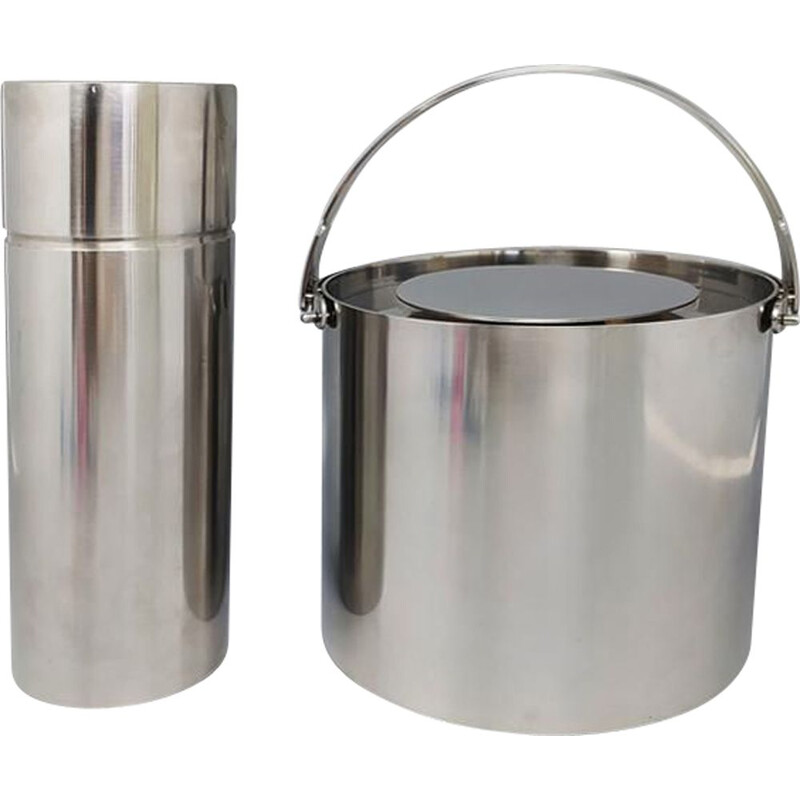 Vintage stainless steel cocktail shaker with ice bucket by Arne Jacobsen for Stelton, 1960s