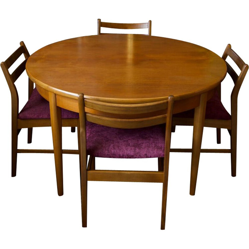 Mid-century set of Jentique extensions dining table and 4 chairs