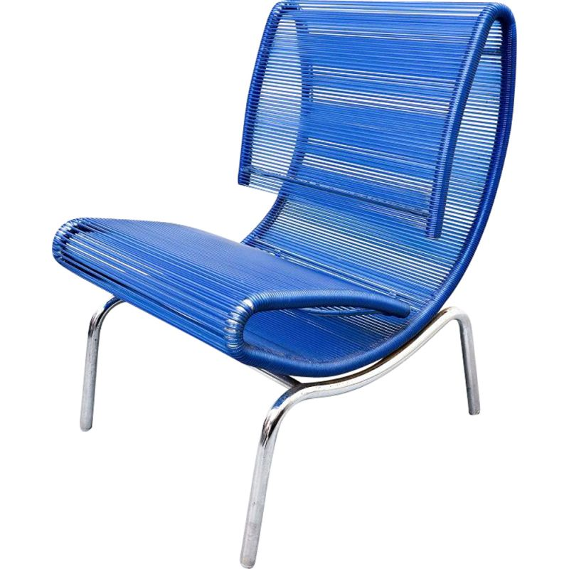 Vintage blue plastic rope chair by Roberto Semprini, Italy