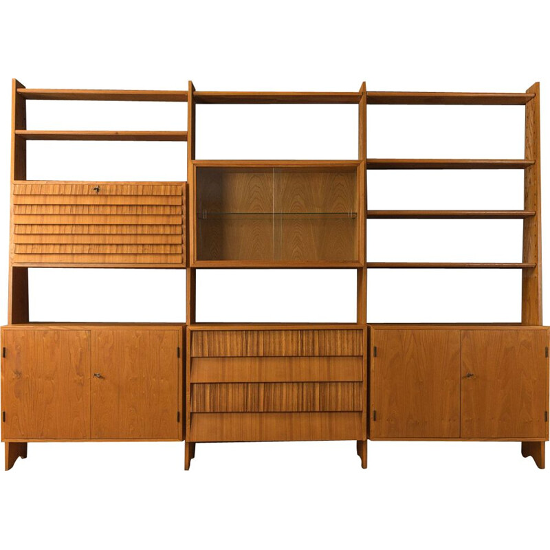 Mid-century large hand-crafted wall shelf unit, 1950s
