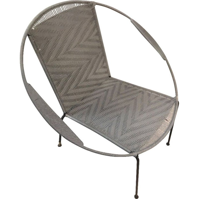 Vintage woven armchair with black metal base