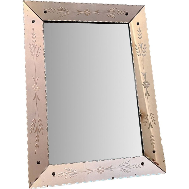 Vintage pink etched glass mirror 1960's