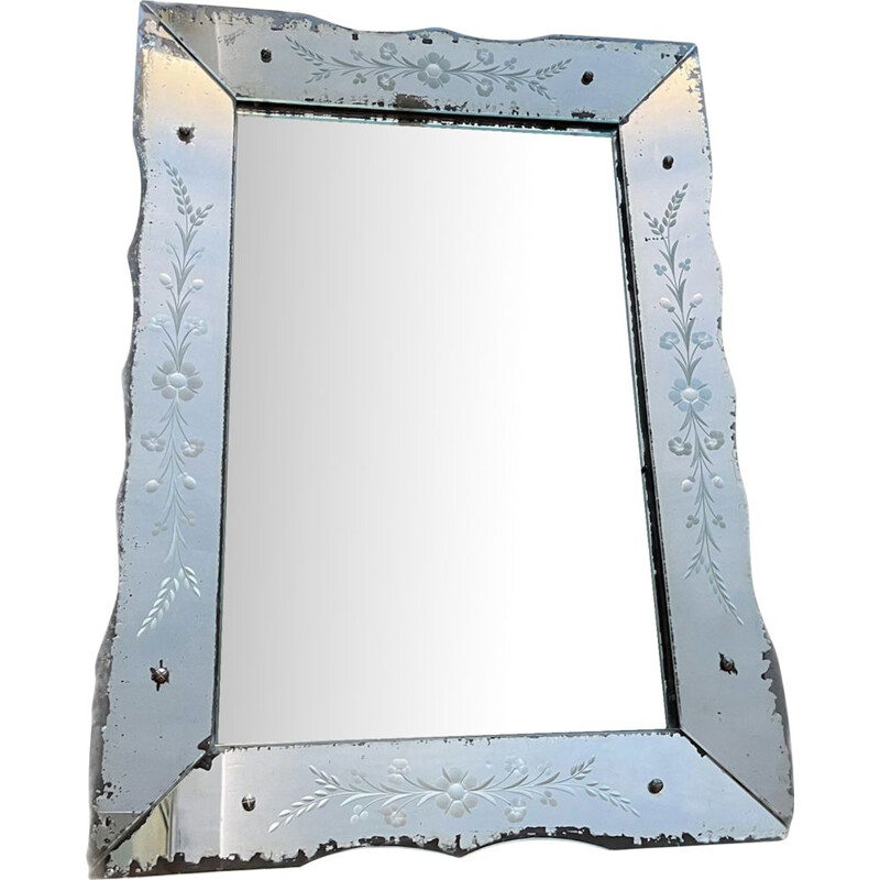 Vintage Italian etched glass mirror 1950's