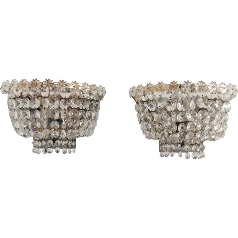 Mid-century 2 Cut crystal wall lamps. France 1940s