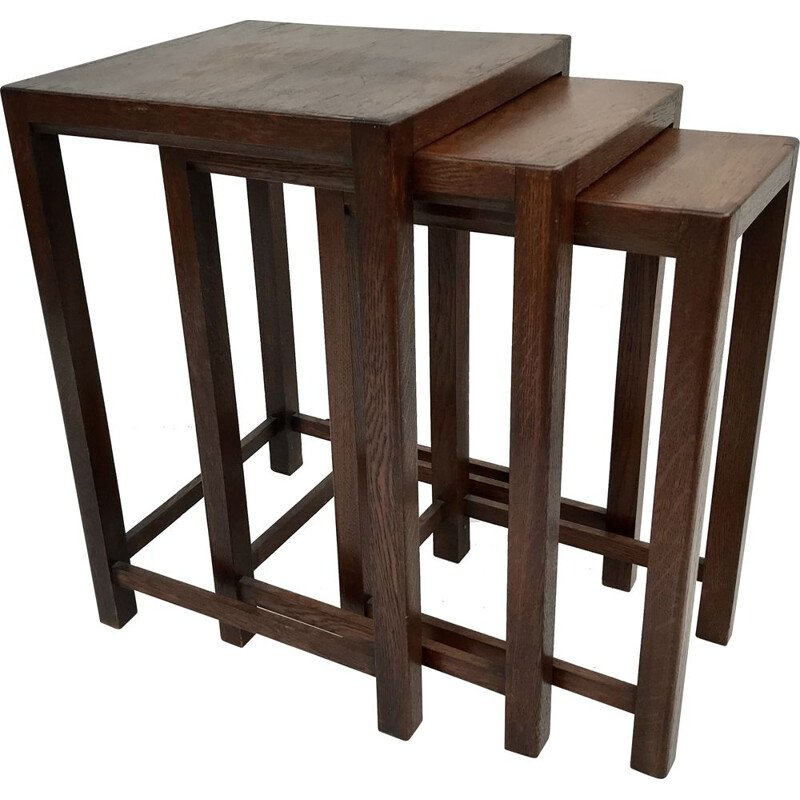 3 vintage nesting tables in exotic wood