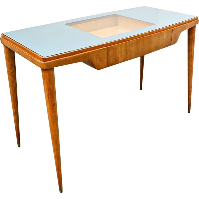 Mid-century wood and glass top desk, Italy 1950s