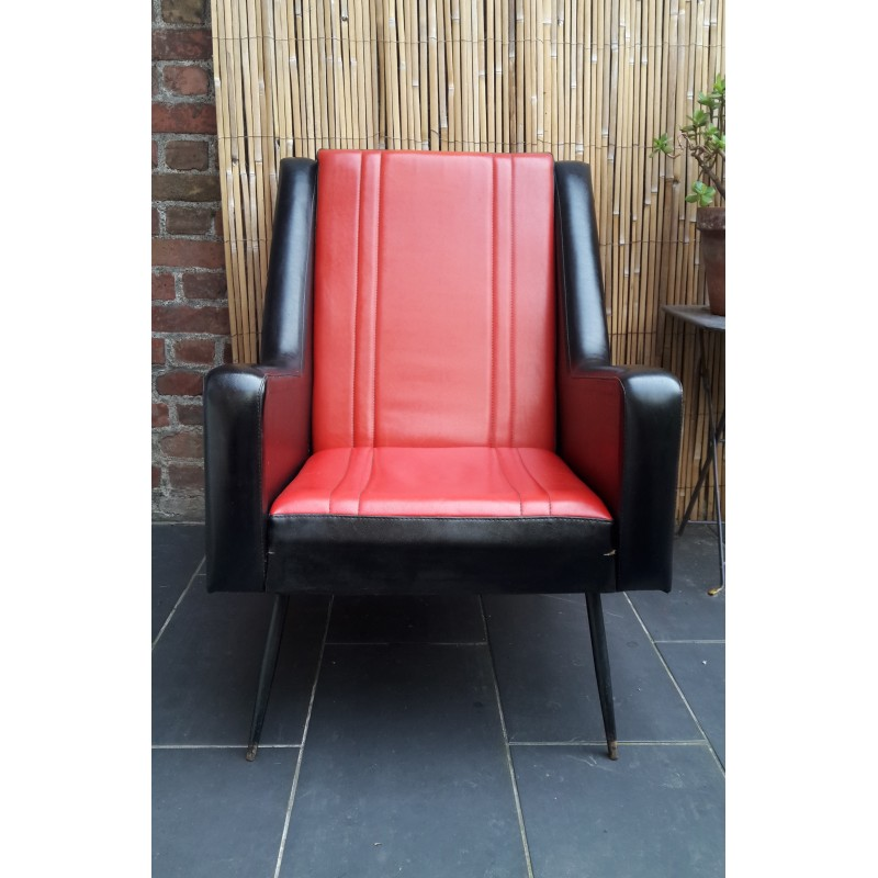 Vintage Fauteuil Skai.Vintage Armchair In Black And Red Leatherette 1950s Design Market