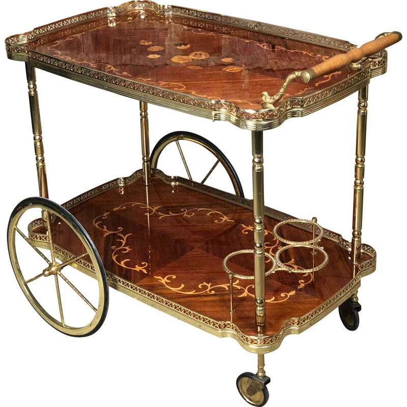 Vintage serving cart in marquetry of flowers and brass 1970s