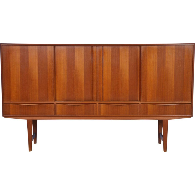 Mid-century danish sideboard highboard in teak by E.W. Bach for Sejling Skabe, 1960s