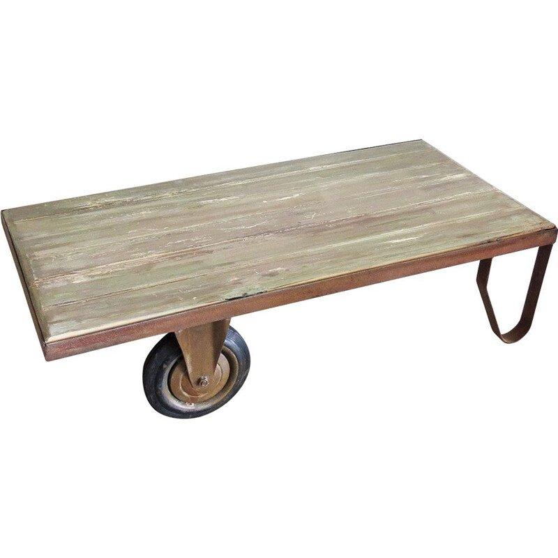 Industrial coffee table with one wheel
