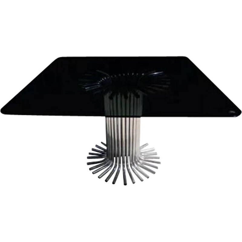 Vintage table with smoked glass top and chromium plated leg, Italy 1970s