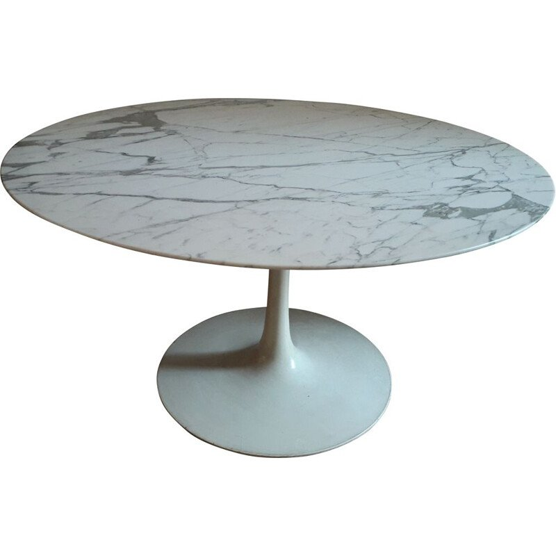 Vintage tulip dining table with Carrara marble top, 1960s