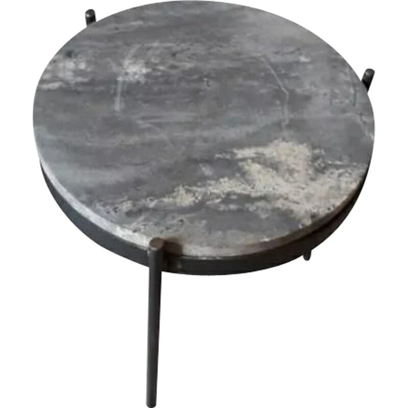 Mid century metal and travertine marble side table