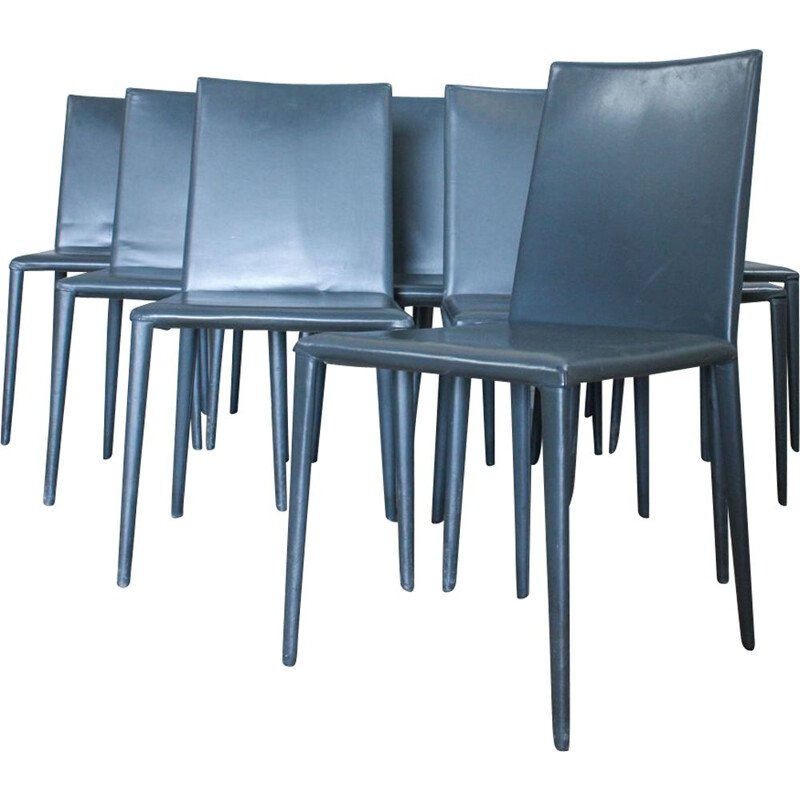 Set of 8 dining chairs vintage from Arper, Italy