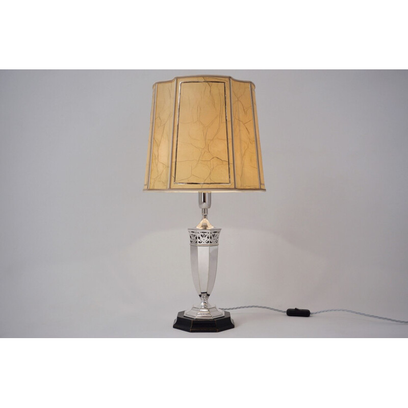 Art Deco lamp by Roberts & Belk, silver plated, Romney Plate Sheffield Made, 1920 English