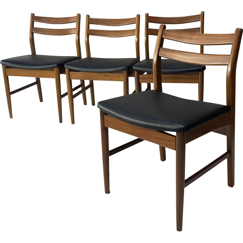 Set of 4 mid century english dining chairs, 1960s