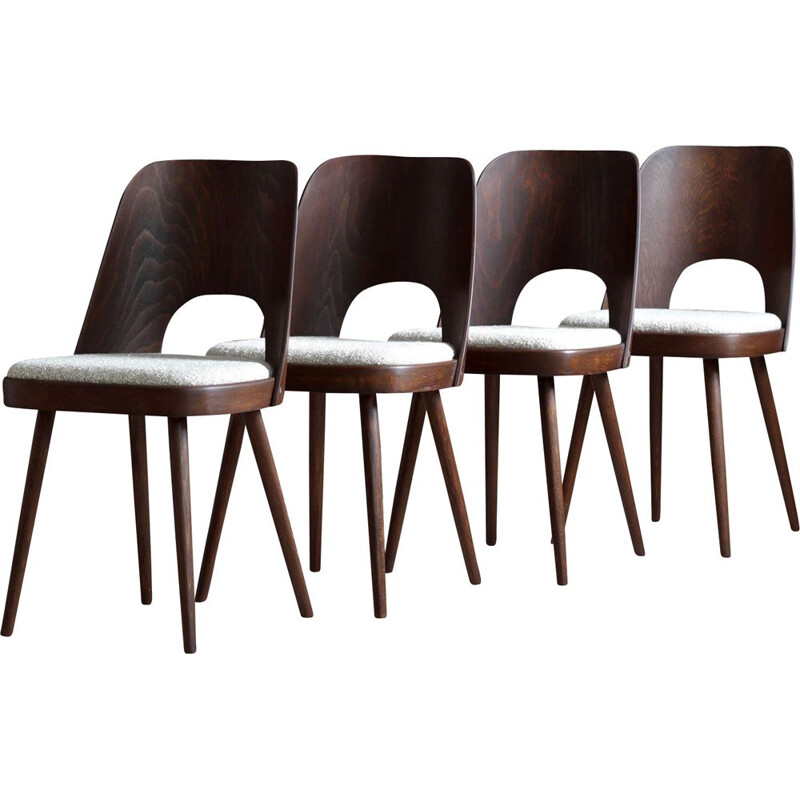 Set of 4 dining chairs mid century in Sahco fabric by O. Haerdtl for M. Josef Hoffmann, 1950s