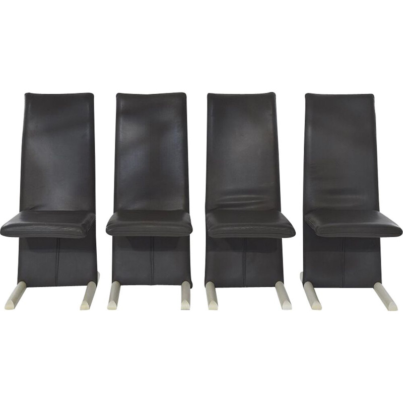 Postmodern set of 4 leather dining chairs vintage by Burkhard Vogtherr for Arflex, 1980s