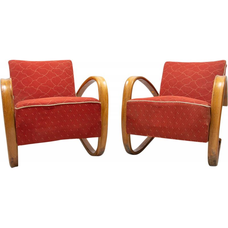 Pair of lounge bentwood armchairs H-269 vintage by Jindrich Halabala, Czechoslovakia 1930s