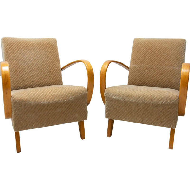 Pair of vintage bentwood armchairs by Jindřich Halabala for UP Závody, 1950s