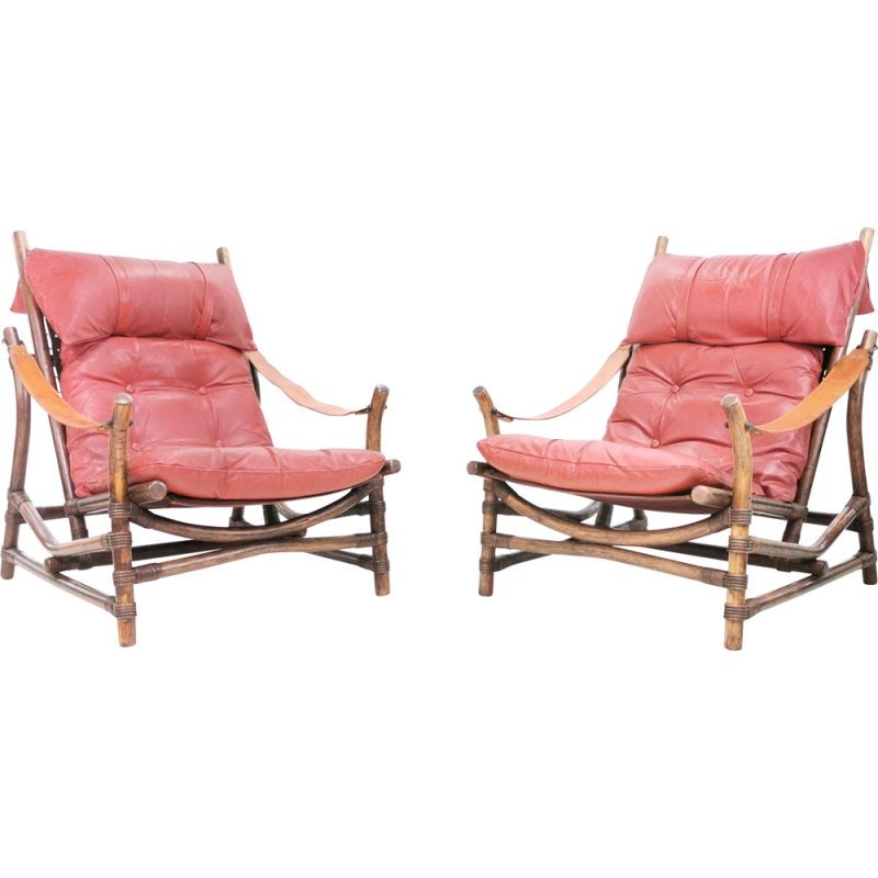 Pair of mid century bamboo & leather lounge chairs, Europe 1960s
