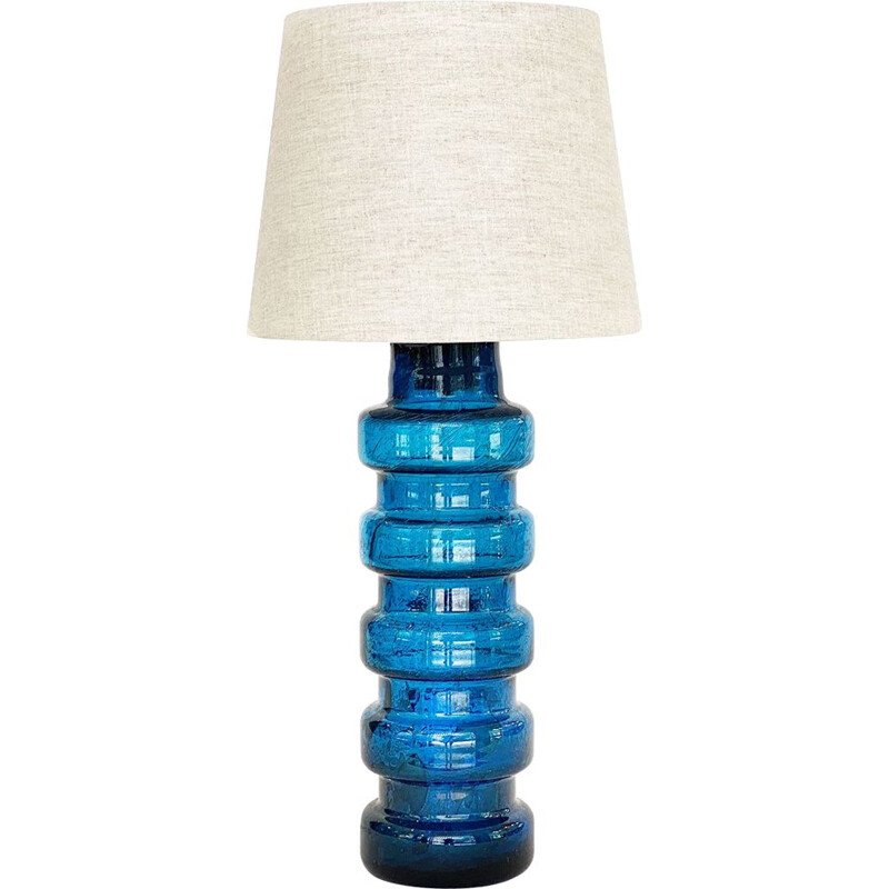Vintage glass table lamp with linen shade, Sweden 1960s