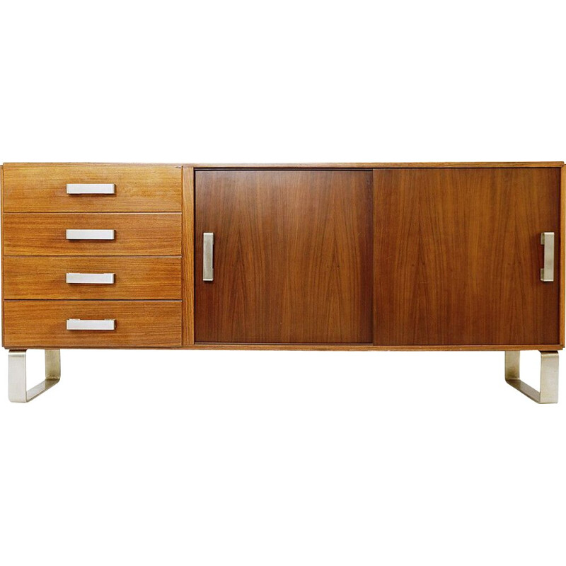 Vintage sideboard with sliding doors and drawers, Italy 1970s