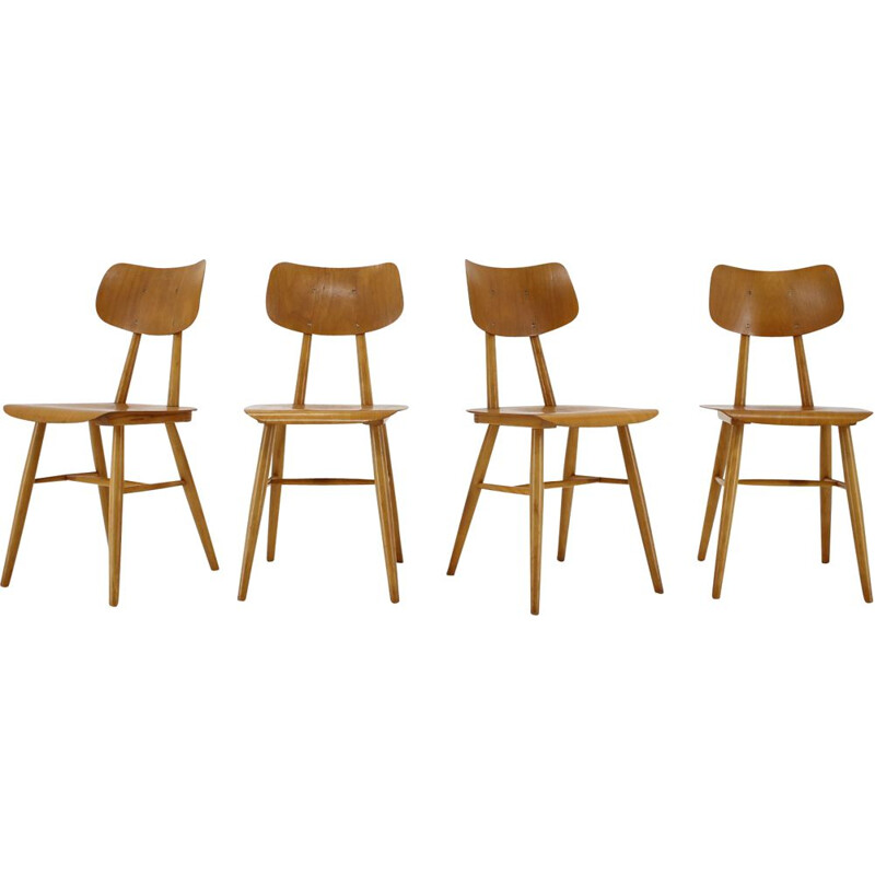 Set of 4 dining chairs vintage, Czechoslovakia 1960s