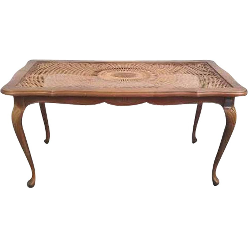 Vintage chippendale coffee table in rattan