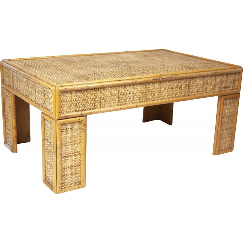 Vintage bamboo and rattan coffee table, France 1970s