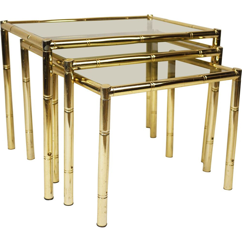 Vintage brass plated bamboo nesting tables and smoked glass, France 1970s