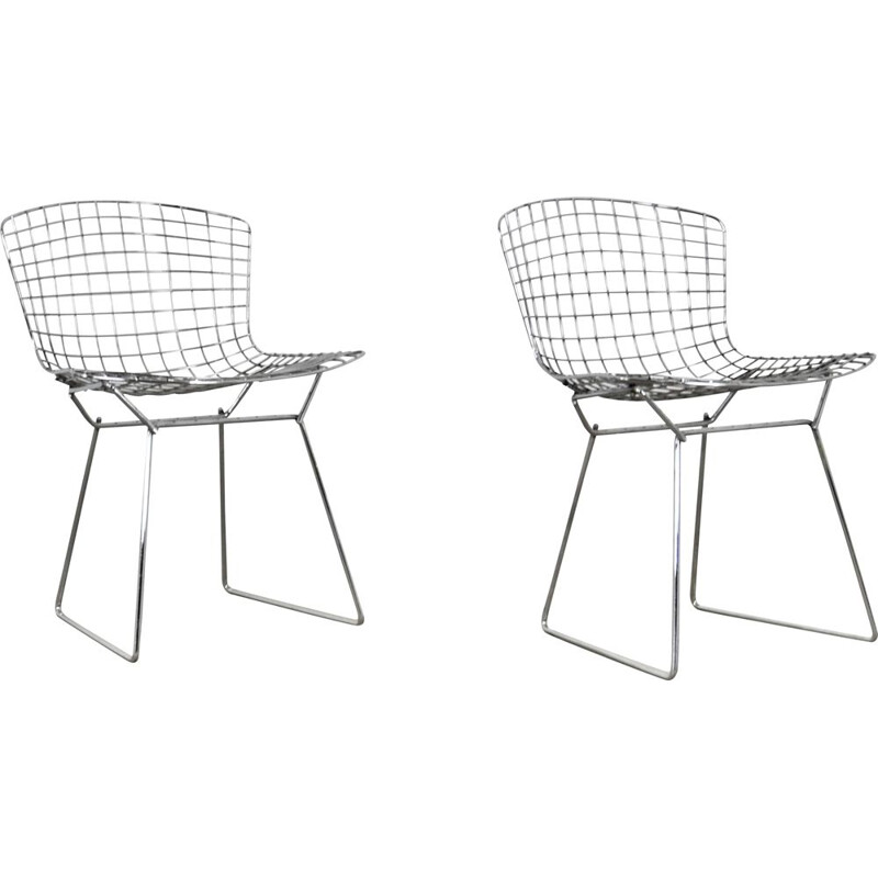 Pair of vintage chromed metal chairs by Harry Bertoia for Knoll, 1960s