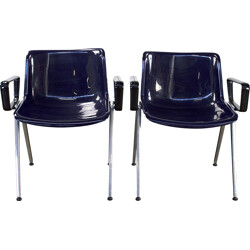 Pair of Tecno SM203 office chairs in blue acrylic - 1980s
