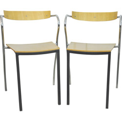 """Pair of """"Rio"""" chairs in wood and metal, Pascal MOURGUE - 1990s"""