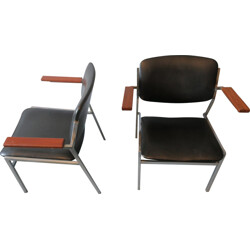 Pair of armchairs in metal, wood and black leatherette - 1960s