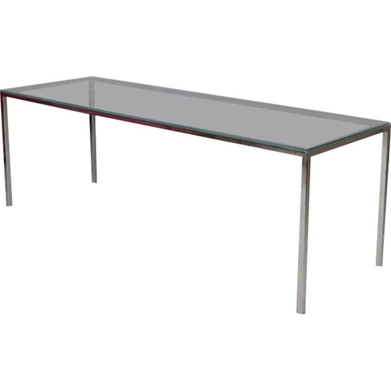 Mid century chrome & glass dining table, 1970s