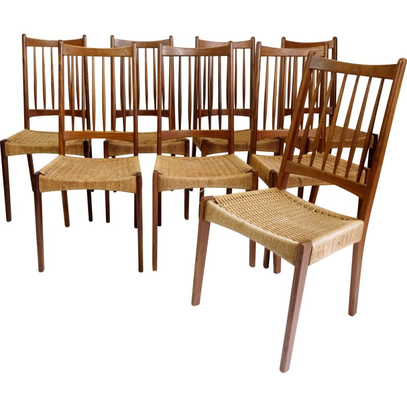 Set of 8 vintage teak and rope chairs by G Plan, 1960s