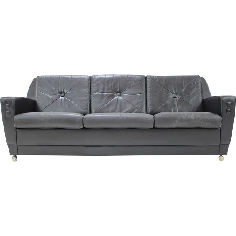 Mid century leather 3-seater sofa, Germany 1960s