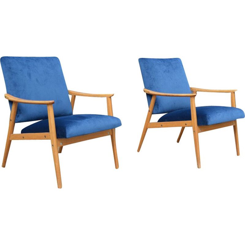 Pair of vintage Czech armchairs