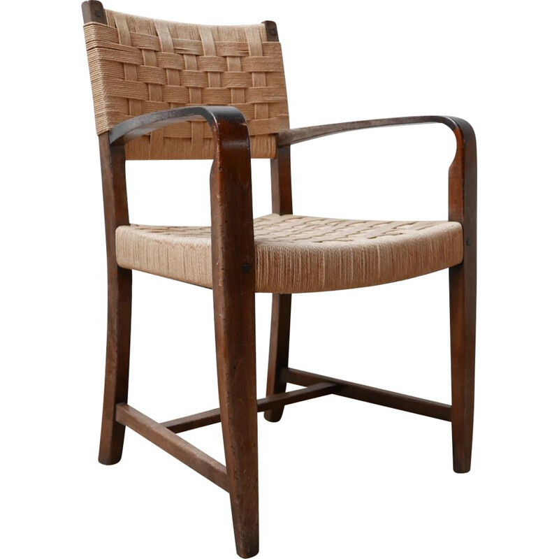 Set of 4 mid-century cord dutch dining chairs, Holland 1960s