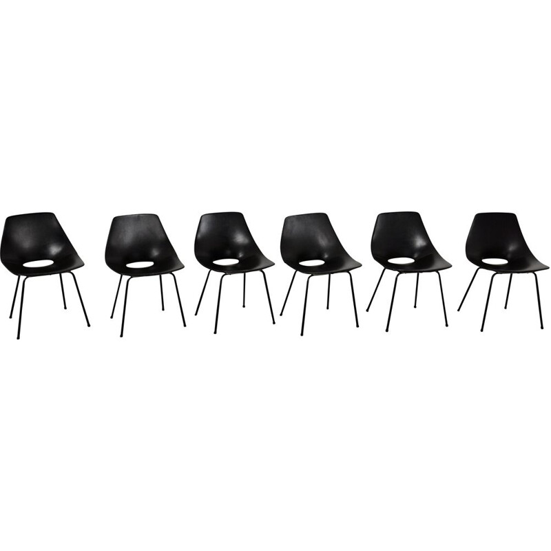 Set of 6 vintage black barrel chairs by Pierre Guariche for Steiner, 1950s