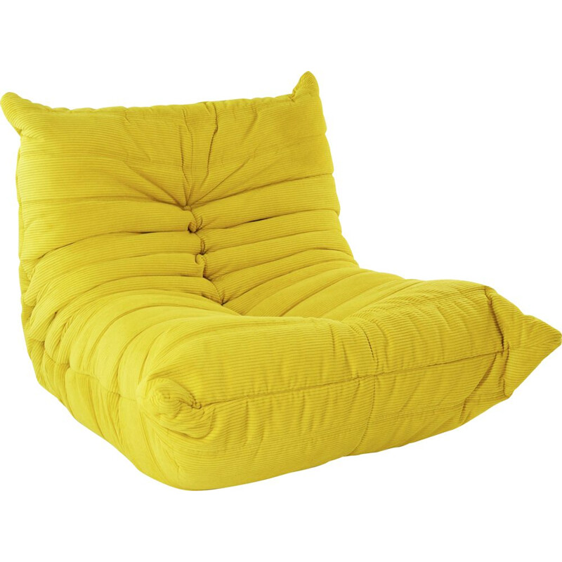 Vintage TOGO armchair in yellow corduroy by Michel Ducaroy for Ligne Roset, 1970s