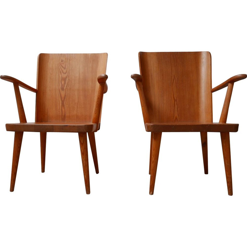 Pair of pine mid century armchairs by Göran Malmvall for Svesnk Fur, Sweden 1950s