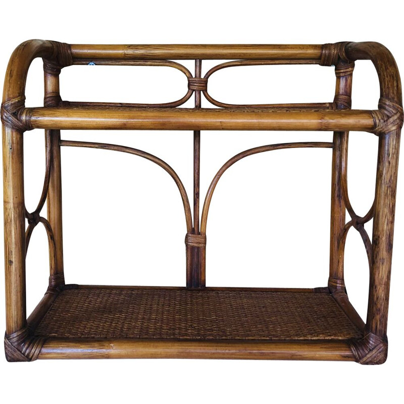 Vintage wall shelf in rattan and bamboo, 1970-1980s